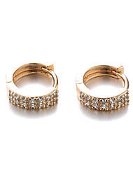 Hoop Earrings Gold Zircon Cubic Zirconia 18K gold Fashion Screen Color Rose Gold Jewelry 2pcs