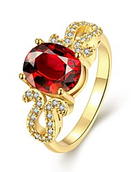 Band Rings Gemstone Gold Plated Oval Fashion Elegant Red Jewelry Wedding Party Daily 1pc