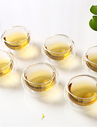 6 Pack High Temperature Resistant Glass Double-Layer Glass Tea Cup Kung Fu Tea Tea Cup Insulation 50ml