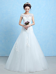 Trumpet / Mermaid Wedding Dress Floor-length Scoop Lace / Tulle / Sequined with Lace / Sash / Ribbon / Beading