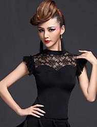 Latin Dance Tops Women's Performance Chinlon / Viscose Draped 1 Piece Black / Fuchsia / Royal Blue Latin Dance