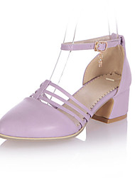 Women's Shoes Leatherette Chunky Heel Heels Heels Wedding / Party & Evening / Dress / Casual Pink / Purple / White