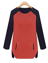 Mulheres Blusa Decote Redondo Manga Longa Bolso Algodão Mulheres