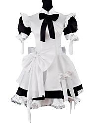 Jupe Tenus de Servante Lolita Classique/Traditionnelle Lolita Cosplay Vêtrements Lolita Noir Mosaïque Manches courtes Moyen Robe Cache-col