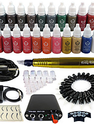 Solong Tattoo Rotary Tattoo Machine & Permanent Makeup Pen 50 Needle Cartridges Ink Set Power Supply Foot Pedal  EK102-3