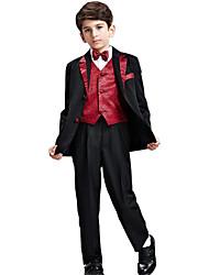 Boy's Cotton All Seasons Formal Suit Coat Pants Waistbelts Waistcoat Bow Tie Five Piece Clothes Set