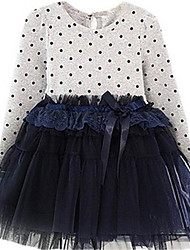 Layered Long Sleeve Dots Girls Dress