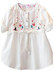 Girl's White Blouse Cotton Summer / Spring