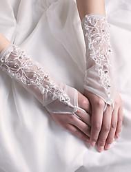 Wrist Length Fingerless Glove Nylon Bridal Gloves / Party/ Evening Gloves Spring / Summer / Fall / Winter Ivory Beading