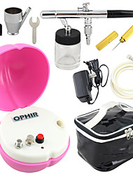 OPHIR 0.35mm Nozzle Airbrush with Peach-shape Pink Mini Air Compressor for Cosmetics Tattoo Nail Art
