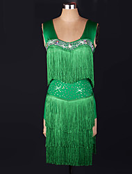 Latin Dance Dresses Women's Performance Spandex Tassel(s) 1 Piece Green Latin Dance Dress