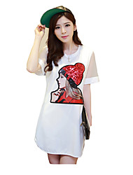 Women's Casual/Daily / Plus Size Cute Loose Dress,Print Round Neck Midi Short Sleeve White / Black Cotton Summer