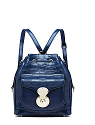 NAWO Women Cowhide Backpack Blue-N652041