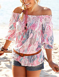 Women's Casual/Daily Simple / Cute Summer T-shirt,Floral Strapless Short Sleeve White Polyester Thin