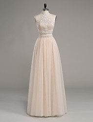 Formal Evening Dress-Champagne Sheath/Column High Neck Floor-length Satin / Tulle