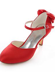 Women's Shoes Stretch Satin Stiletto Heel Heels / Round Toe Heels Wedding / Party & Evening / Dress Red