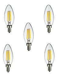 5 pièces HRY E14 4W 4 LED Haute Puissance 400 lm Blanc Chaud / Blanc Froid CA35 edison Vintage Ampoules à Filament LED AC 100-240 V