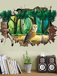 3D Wall Stickers Wall Decals, Cute Owl Hole Forest PVC Wall Sticker