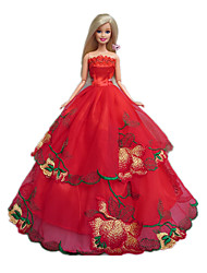 Barbie Doll Red Rose Design Princess Wedding Dress