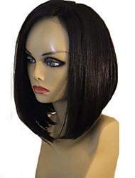 """não transformados 8 """"-16"""" frente perucas virgem brasileira cor natural sedosa bob reta cheia do laço peruca de cabelo humano rendas"""