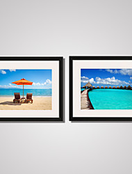 Sunny Beach and Seascape Modern Canvas Print Art with Black Frame Set of 2 for Home Decoration Ready To Hang