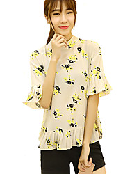 Women's Floral White Blouse,Stand ½ Length Sleeve