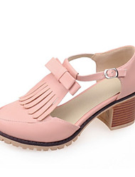 Women's Spring / Summer / Fall Heels Leatherette Wedding / Dress / Casual / Party & Evening Chunky Heel Yellow / Pink / White