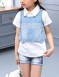 Girl's Blue Clothing Set,Floral Cotton Summer