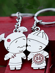 A Pair Fashion Metal Chinese Child Marriage Key Ring Key fob Couples Romantic Keychain Lover Gift