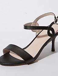 Women's Shoes Stiletto Heel Heels / Open Toe Sandals Office & Career / Dress / Casual Black / White / Almond
