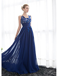 Formal Evening Dress A-line Scoop Floor-length Tulle / Georgette with Appliques / Beading / Ruching