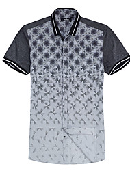 Seveb brand warehouses men short sleeved shirt 2015 summer thin 100% cotton youth geometric design of man leisure shirt