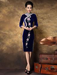 yimilan® das mulheres da nova frisado pesado vestido bordado qipao
