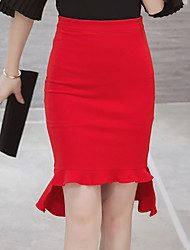 Women's High Waist Ruffle Red / Black OL Style Bodycon Fishtail Skirts,Work / Street chic Above Knee