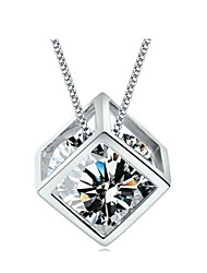 AAA Zircon Square Hollow Sterling Silver CZ Necklace Pendant Necklaces Daily / Casual 1pc
