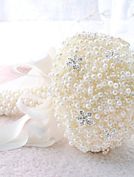 """Bouquets de Noiva Redondo Rosas Buquês Casamento Festa / noite Poliéster Cetim Renda Enfeite Espuma Crostal Strass 7.87""""(Aprox.20cm)"""