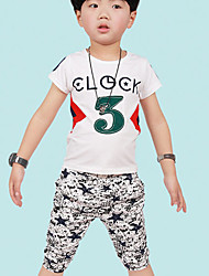 Boy's Cotton Summer Number 3 Shirt And Star Printing Pants Two-piece Suit