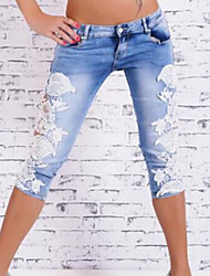 Women's Patchwork Lace Hollow Out Slim Sexy Shorts Pants,Casual / Day / Street chic