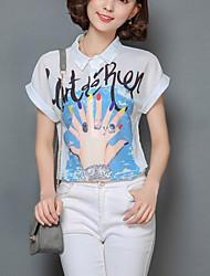 Women's Print White Chiffon Shirt,Work / Casual Cute Shirt Collar Short Sleeve Fashion Loose Thin Polyester