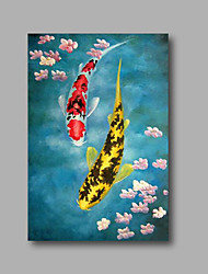 "Stretched (ready  to hang) Hand-Painted Oil Painting on Canvas 36""x24"" Modern Deco Art Fishes Flowers"