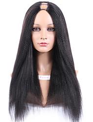 u yaki virginal uprocessed peluca parte con 1x4 pulgadas parte brasileña yaki pesado media recta u parte pelucas de cabello humano