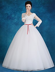 Ball Gown Wedding Dress Floor-length V-neck Satin / Tulle with Appliques