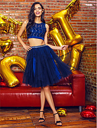 TS Couture® Cocktail Party Dress - Dark Navy Ball Gown Jewel Short/Mini Tulle