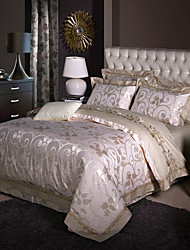 Luxury Silk Cotton Blend Duvet Cover Sets Queen King Size Bedding Set