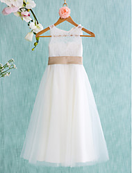 Lanting Bride A-line Tea-length Flower Girl Dress - Lace / Tulle Sleeveless Jewel with