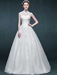 Ball Gown Wedding Dress Floor-length High Neck Tulle with Appliques