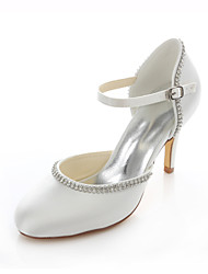 Women's Shoes Stretch Satin Stiletto Heel Heels / Round Toe Heels Wedding / Party & Evening / Dress Pink / Ivory