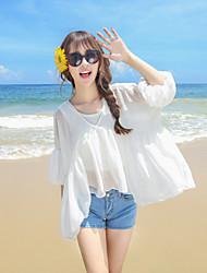 Women's Beach Boho / Street chic Summer Blouse,Solid V Neck ½ Length Sleeve White / Black Rayon / Polyester Thin
