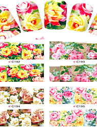 8pcs  Nail Art Water Transfer Stickers Beautiful Rose  Image Fashion C192-195