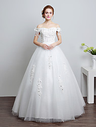 Ball Gown Wedding Dress Floor-length Off-the-shoulder Lace / Satin / Tulle with Lace